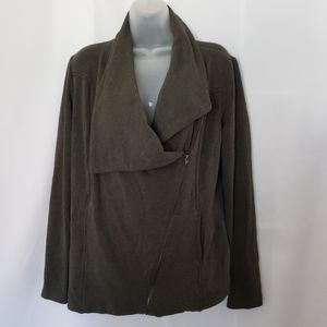 H by Bordeaux Grey Asymmetrical Soft Zip Jacket